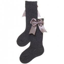 Girls Spanish Knee High Double Bow Grey Socks