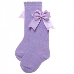 Double Bow Knee High Lilac Socks For Girls