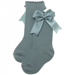 Double Bow Knee High Sea Green Colour Girls Socks
