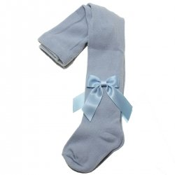 Girls Baby Blue Spanish Carlomagno Tights With Satin Bows