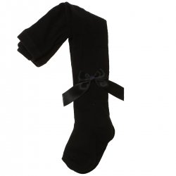 Spanish Carlomagno Girls Black Tights With Satin Bows