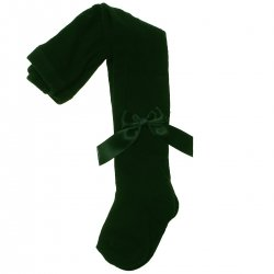 Carlomagno Girls Bottle Green Bow Tights Made in Spain