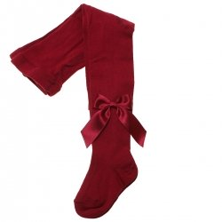 Spanish Top Quality Girls Burgundy Carlomagno Tights With Satin Bows