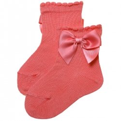Girls Ankle High Spanish Coral Red Bow Socks