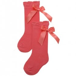 Coral Pink Colour Knee High Spanish Socks With Satin Bows By Carlomagno