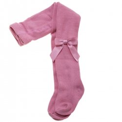 High Quality Carlomagno Girls Dusky Pink Tights With Satin Bows