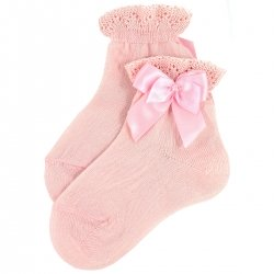 Girls Ankle High Pink Socks With Frills And Satin Bows