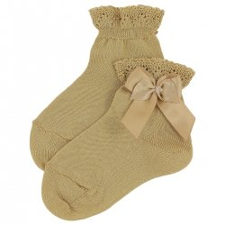 Girls Caramel Brown Ankle High Socks With Frills And Bows