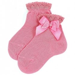 Girls Blush Pink Ankle High Socks With Frills And Bows