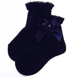 Girls Navy Frills Socks With Satin Bows And Beads