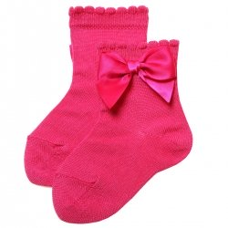 Girls Ankle High Spanish Fuchsia Bow Socks