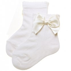 Girls Ankle High Ivory Bow Socks