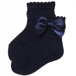 Navy Colour Bow Socks For Babies And Toddlers Girls