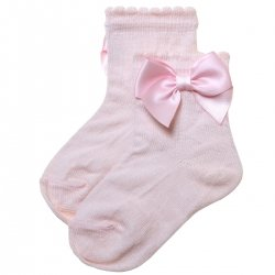 Pink Colour Bow Socks For Babies And Toddlers Girls
