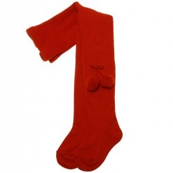 34d5ef2aa95 Red Pom Pom Tights By Spanish Carlomagno
