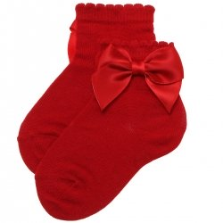 Red Colour Bow Socks For Babies And Toddlers Girls