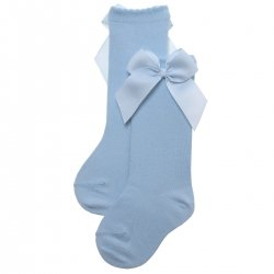 Girls Baby Blue Knee High Gros Grain Bow Socks