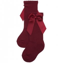 Girls Knee High Burgundy Gros Grain Bow Socks