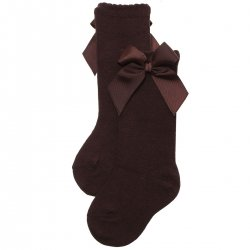 Choco Brown Colour Girls Knee High Gros Grain Bow Socks