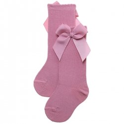 Knee High Gros Grain Bow Dusky Pink Socks For Girls