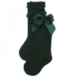 Girls Knee High Bottle Green Socks With Gros Grain Bows