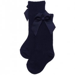 Knee High Gros Grain Bow Navy Socks For Girls