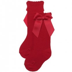 Girls Knee High Red Socks With Gros Grain Bows