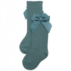 Sea Green Colour Girls Knee High Gros Grain Bow Socks