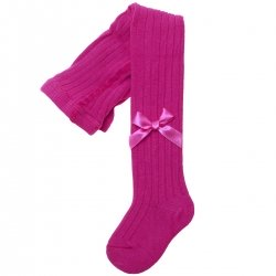 Carlomagno Fuchsia Bow Ribbed Tights
