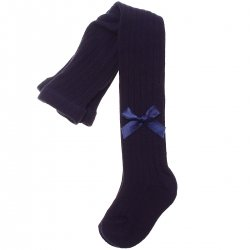 High Quality Carlomagno Navy Ribbed Tights With Bow