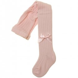Pink Ribbed Tights Decorated By Satin Bows
