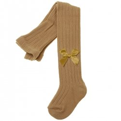 Caramel Colour Ribbed Tights Decorated By Bows