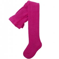 Made In Spain Carlomagno Fuchsia Ribbed Tights
