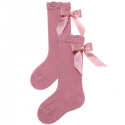 Satin Bow Girls Spanish Knee High Dusky Pink Socks