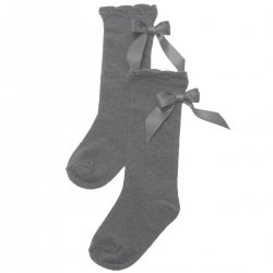 Carlomagno Girls Light Grey Knee High Socks With Back Satin Bows
