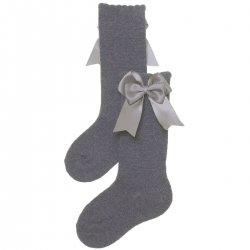 518915a55a7 Carlomagno Girls Spanish Knee High Double Bow Light Grey Socks