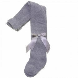 Carlomagno Girls Light Grey Tights With Satin Bows