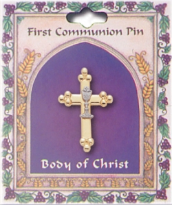 Cross and Chalice First Holy Communion Pin Or Brooch