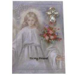 To My Friend Prayer Card With Brooch