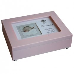 Baby Girls Pink Musical Photo Frame Keepsake Box