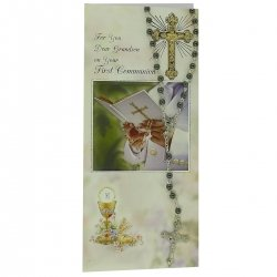 For You Dear Grandson Communion Card With Imitation Hematite Rosary