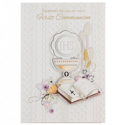 Especially For You First Communion Card with 3D Symbols