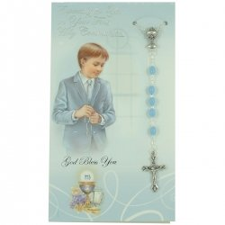 Especially For You Boys First Holy Communion Card With Blue Rosary