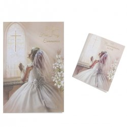 Girls First Holy Communion Card With With Colour Illustrated Communion Book