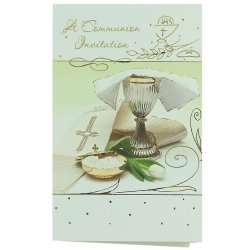 Pack of 12 Communion Pale Green And Gold Invite Card