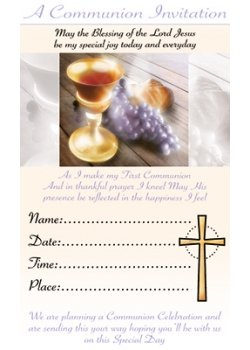 Pack of 12 First Holy Communion Invitation Cards