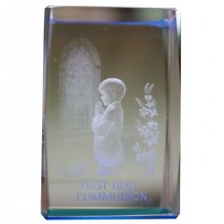 Boys First Holy Communion Gift Glass Paper Weight