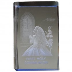 Girls First Holy Communion Gift Glass Paper Weight