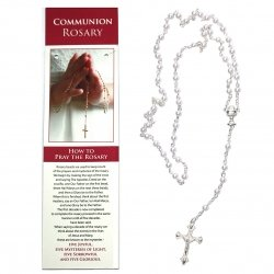 First Holy Communion White Rosary On How To Pray The Rosary Card