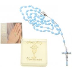 First Holy Communion Blue Rosary in Gift Box with Instruction Card